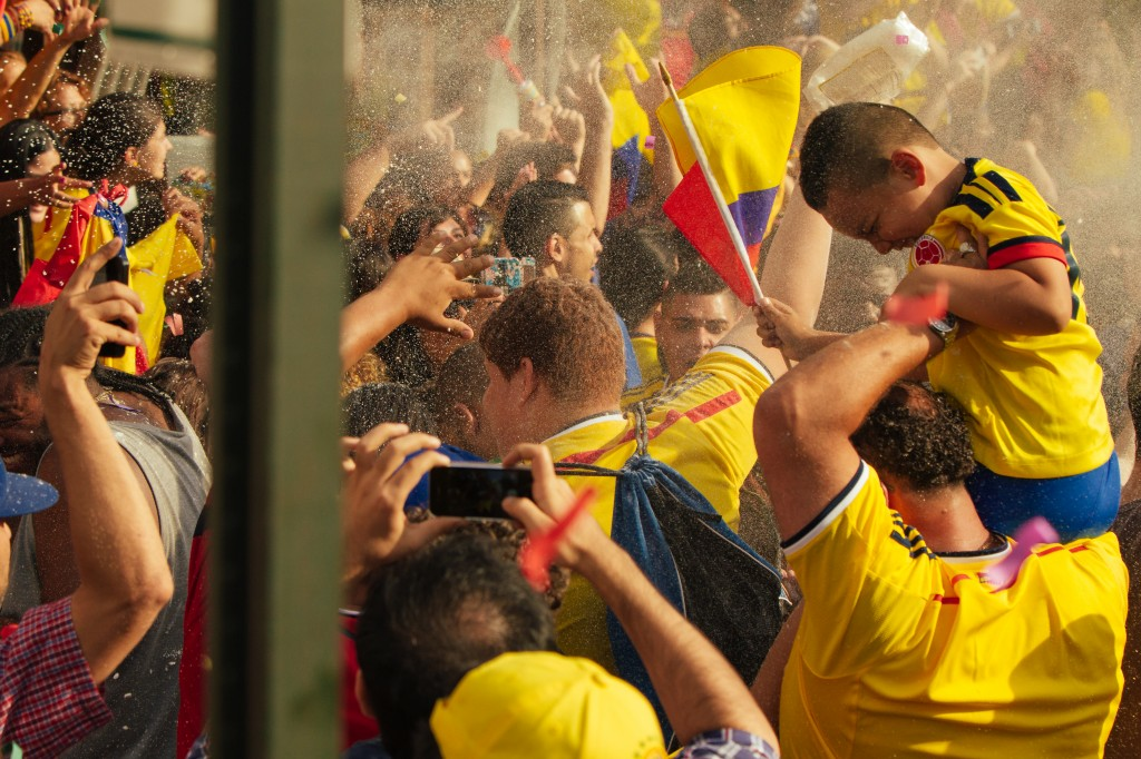 Fans celebrate Colombia's game against Uruguay