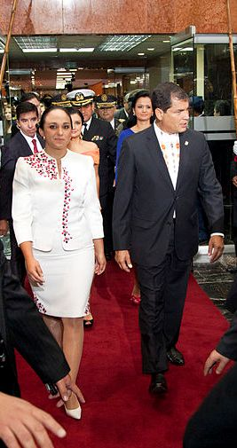 Gabriela Rivadeneira, proponent of the constitutional amendments, with President Rafael Correa in May 2013