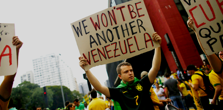 Brazilians took to the streets to protest the economic crisis in Brazil and rampant corruption.