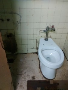 The only available restroom in the Havana hospital had a single, dirty toilet.