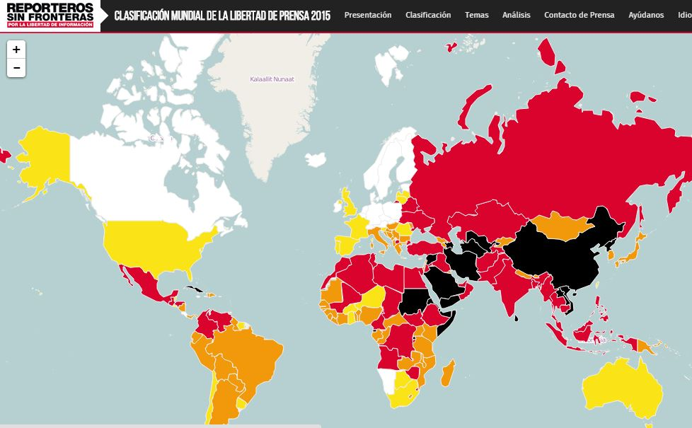 Darker colors mean more danger for journalists on the RWB map of global press freedom.