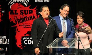 Chávez with Oliver Stone promoting the movie