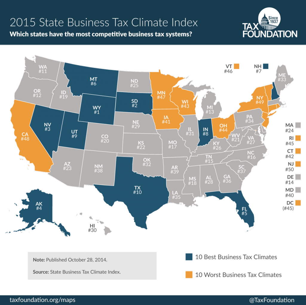 Maryland is ranked 40th in the Tax Foundation's Index of competitive business tax systems by state.