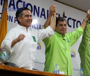 Candidate Augusto Barrera (left) with President Rafael Correa (right).
