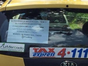 """The Colombian taxi union have convened a national strike for next Monday, to reject Uber operations in the country. (<a href=""""https://twitter.com/JAVIERBARRERAA/status/576193783865409536"""" target=""""_blank"""">@JavierBarreraA</a>)"""