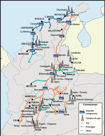 Colombia's natural gas distribution system