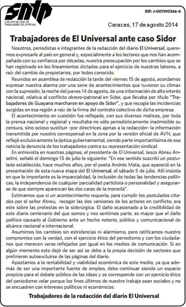 El Universal press release on the Sidor case.
