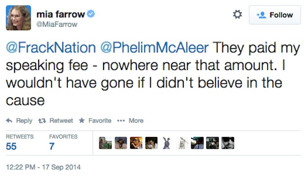 "Mia Farrow admits being paid a ""speaking fee"" in a tweet she later deleted."