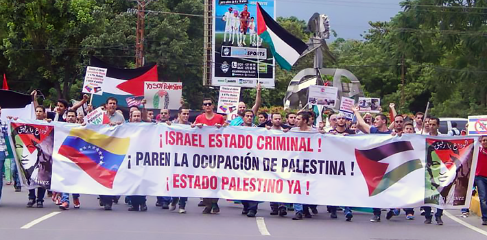 Protest for solidarity with Palestine in Carabobo, Venezuela.