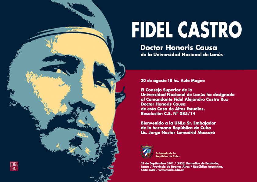 Invitation to the award ceremony for former President Fidel Castro.