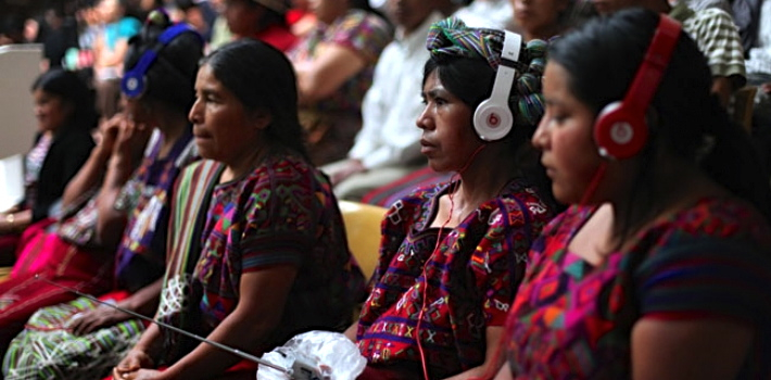 Ixil Mayan women during the first trial against Efraín Ríos Montt in 2013. (BobertsonFlickr)