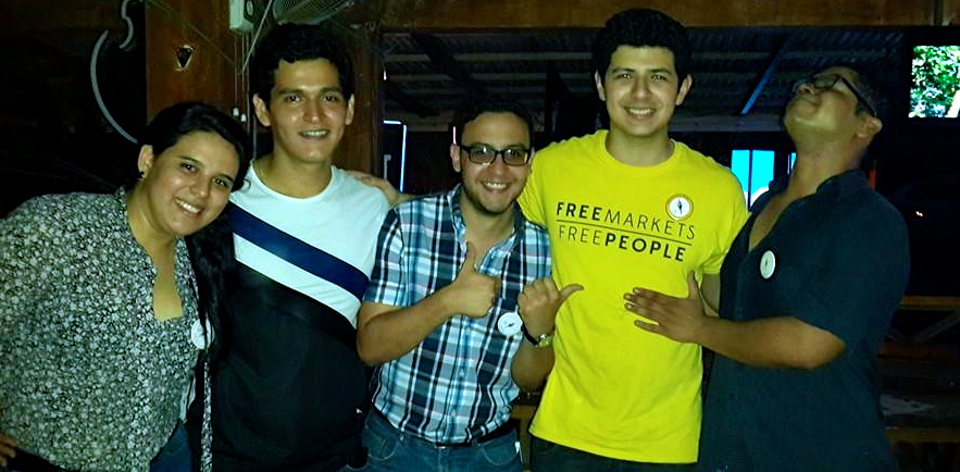 """EsLibertad Honduras members, including participants in the """"We Want Classes"""" activism: Rocío Zaldívar (far left), Jorge Colindres (in yellow), and Christian Betancourt (far right). (EH Facebook)"""