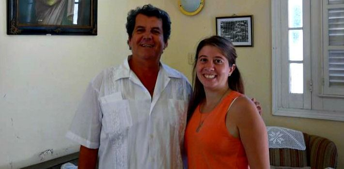 Micaela Hierro with Cuban activist Oswaldo Payá, who died mysteriously on July 22, 2012. (Micaela Hierro)