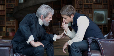 The giver (Jeff Bridges) shares memories known only to him with Jonas (Brenton Thwaites). (The Giver Film)