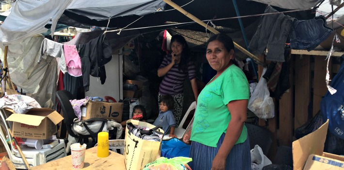 Representatives from Argentina's indigenous communities, including women and children, live at the encampment in the middle of Buenos Aires.