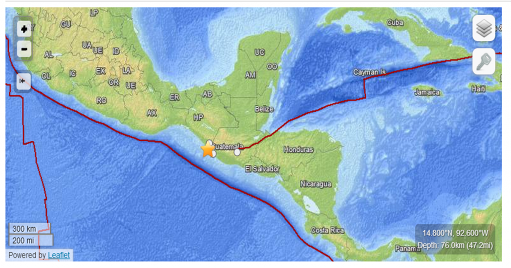 Location of the epicenter. (http://earthquake.usgs.gov/)